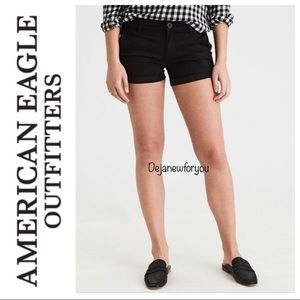 AEO Black Super Stretch Twill X Midi Shorts